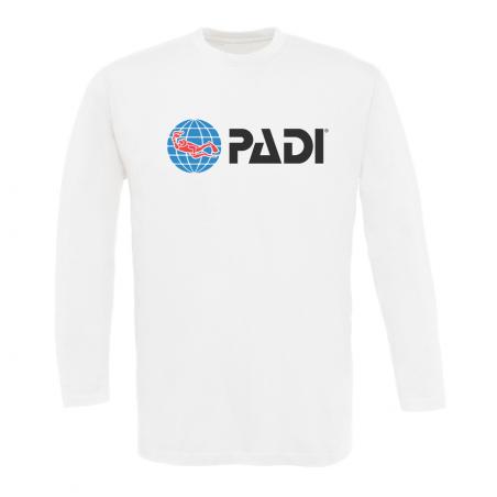 Maglietta PADI manica lunga da uomo - Bianco nitido