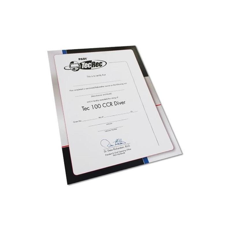Certificate - Tec 100 CCR Diver, Wall